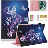 "iPad Pro 10.5 inch Case, Dteck Cute Flip Folio Smart Stand Case with [Auto Sleep/Wake] Protective Synthetic Leather Wallet Cover for Apple iPad Pro 10.5"" 2017 Released Tablet-Purple Butterfly"
