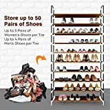 from Sable Sable Shoe Rack Storage, 10-Tier for 50 Pairs of Shoes, Shoe Organiser with Waterproof Fabric Tiers