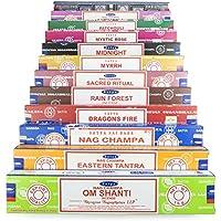 Satya Incense Set AH 12x15g includes: Nag Champa, Super Hit, Eastern Tantra, Nirvana, Myrrh, Om Shanti, Midnight, Mystic Rose, Patchouli, Rain Forest, Sacred Ritual, Dragons Fire