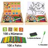 Juguetes Educativos para Niños Juegos de Aprendizaje Matemático Caja Magnética Digital de Madera Caballete de Dibujo Pizarra con 100 Palos de Enumeración 100 Tarjetas del Número Reloj (Caja del Aprendizaje)
