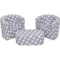 MuseHouse Mobilier pour Enfants 2 fauteuils et Un Pouf Ensemble de pépinière Pliable pour la Chambre d'enfants Deux…