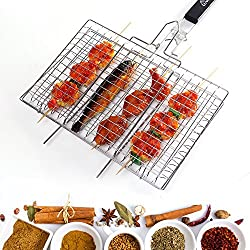 WolfWise Griglia per Barbecue Griglia Portatile In Acciaio Inox con 430 Pieghevole Manico in Legno