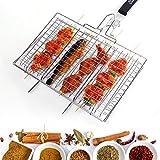 WolfWise Grille de Barbecue Portable en Acier Inoxydable 430 pour Saucisse Poisson, Poignée en Bois Pliable