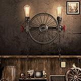 Neilyn American Retro Schmiedeeisen Rohr Wandleuchte Loft Vintage Industrielle Wand Laterne Kreative Persönlichkeit Restaurant Bar Wandleuchte Antike Rad Wandleuchte (Größe : S)