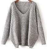 Pullover Für Damen Oversized V Ausschnitt Übergröße Sweaters Damen Pullis Winterjacke Pullover Frauen Strick Damen Schöne Damen Pulli Herbst Winter Grau