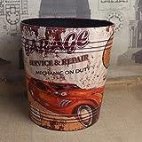 YCG Home creative retro cubos de basura sin tapa salón cocina baño Papelera redonda cesta de residuos