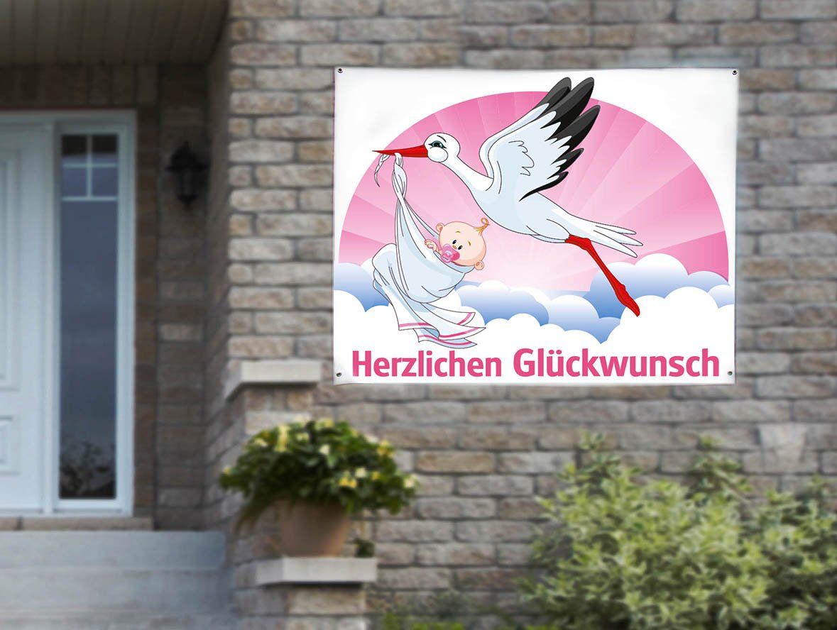 PVC-Banner Klapperstorch GIRL, 118cm x 150cm