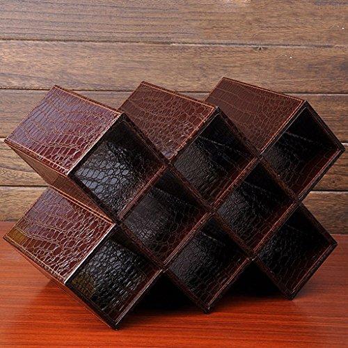 Wadse Weinregal, Europäischen Kreative MDF Und Pu-Leder Weinregal Weinkühler, Home Weinregal -by Virtper (Farbe : Brown, größe : Eight Grid) (Brown-leder-bücherregal)