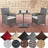 CLP Garten-Sitzgruppe PALERMO aus Polyrattan | Robuste Gartengarnitur mit Aluminiumgestell | Garten-Set bestehend aus 2 Stühlen und einem Tisch | In verschiedenen Farben erhältlich Grau, Bezugsfarbe: Cremeweiß