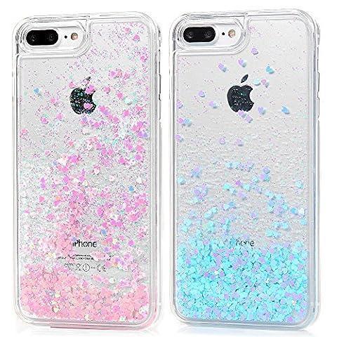 iPhone 7 Plus Hülle,KASOS iPhone 7 Plus Handyhülle Crystal Tasche Handytasche Glänzend 3D Hard PC Schale Glitzer Dynamisch Treibsand Liquid Fließen Bling Stars Shiny Stoßfest Kratzfeste,Paket 5
