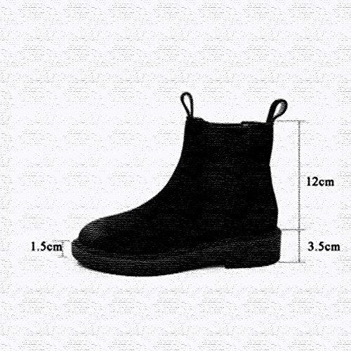 XIA Stivali da donna flat albicocca nabuk color caramello short boots stile british outdoor A-THICK