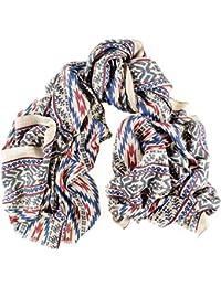 Aztec Print Silk and Merino Wool Scarf