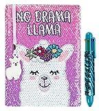 FRINGOO Carnet de notes avec sequins réversibles à motif de licorne, agenda avec stylo multicolore à sequins, pour filles et garçons, format A5avec marque-page, 80pages No Drama Llama
