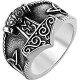 Purmy Anillos Hombre Vikingos Martillo de Thor Anillos Acero Inoxidable para Hombres o Mujeres