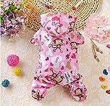 XCXpj Lovely Dog Kleidung Affe Muster Vier Fuß Regenmantel Teddy Regenmantel Pink M
