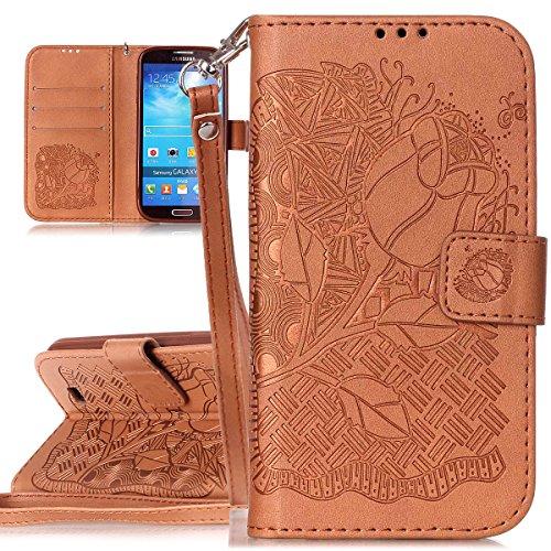 ISAKEN Flip Cover Compatibile con Samsung Galaxy S4 I9500 [PU Pelle] Sbalzato Embossed Design Custodia Flip Portafoglio Wallet Caso con Supporto di Stand/Carte Slot - Cranio:Marrone
