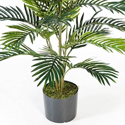 artplants – Künstliche Areca-Palme Jennica im Zementtopf, 17 Palmwedel, 90 cm – Kunstpalme/Dekopalme