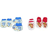 Gilli Shopee New Born Baby's Premium Cotton Housiry Mittens Booties Set/Hand Gloves/Muthi/to Keep Baby Hand Tender for Age 0 to 6 Months Pack of 2 (Print Ship As Per Stock)