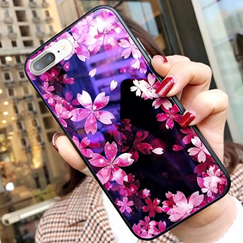 Kompatibel mit iPhone 8 Plus Hülle,iPhone 7 Plus Hülle,Malerei Kirschblüten Gehärtetes Glas TPU Frame Hülle Silikon Bumper Hülle Hülle Tasche Schutzhülle für iPhone 8 Plus/7 Plus,Rosa Kirschblüten