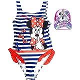 Pack Especial Bañador Minnie Mouse para niñas + Gorra con Visera Unicornio, Ideal para Playa o Piscina. Nueva Temporada Disne