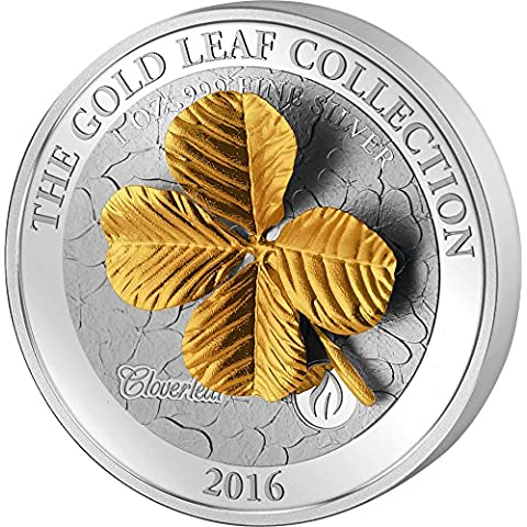 FOUR LEAF CLOVER 3D Gold Collection 1 Oz Silver Coin 5$ Samoa 2016 Moneda