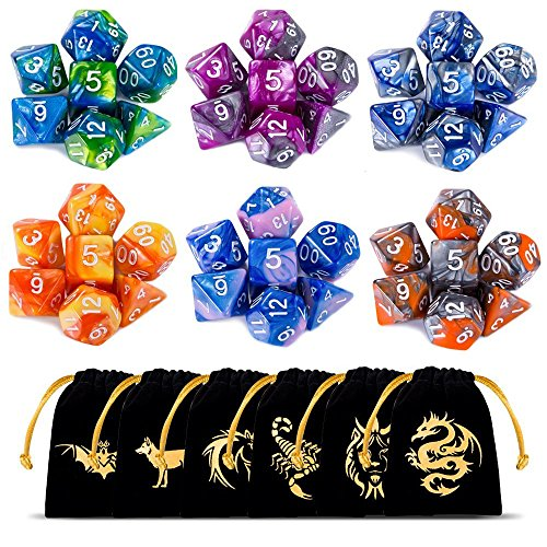 CiaraQ Polyedrische Würfel 6 x 7 (42 Stück) Doppel-Farben Tisch Spiel Würfel für RPG Dungeons und Dragons Pathfinder mit Gold Muster Beutel DND RPG MTG D20 D12 D10 D8 D6 D4