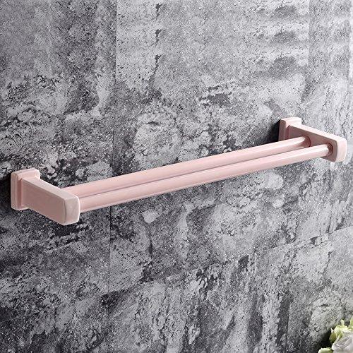 JFWMZyq Handtuchhalter Badezimmer Zubehör Keramik Doppelstab Pink 40cm
