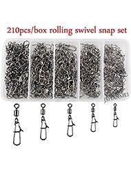 jshanmei® 210pcs/caja 5tamaños Rolling Swivels con cierre rápido. Snap Conector señuelo de la pesca Tackle Kit, 210Pcs/box-MS+ZQ, 320pcs/box