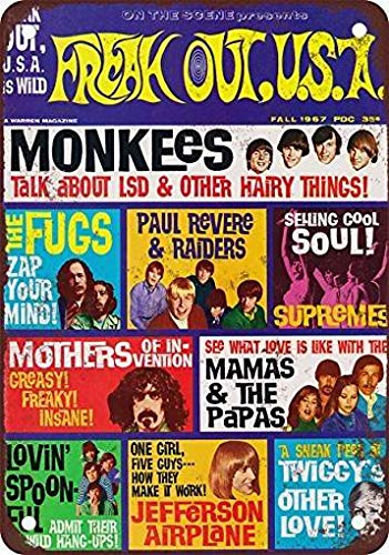 mefoll Vintage Signs 12x16 1967 Freak Out Magazine Monkees Wall Decor Art -