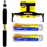 """Purdy Adjustable Frame 1-2ft Extension Pole 2x 12"""" Colossus Paint Roller Sleeves"""