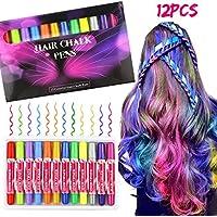 Hair Chalk, Buluri 12 Colores Cabello Tiza No Tóxico Cabello Tiza Color Temporal Cabello Tinte para Niños de 4 a 5 Años 6 Plus, Regalo Perfecto para Cumpleaños, Fiesta Temática
