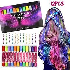 Idea Regalo - Hair Chalk, Buluri 12 colori Gessi per capelli Gessi per capelli non tossici per gesso Coloranti per capelli temporanei per età 4 5 6 Plus Ragazzi per ragazze, Regali perfetti per il