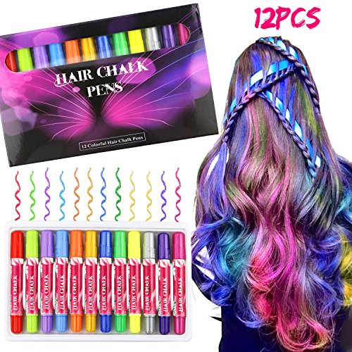 Haarkreide, Buluri 12 Farben Haar Kreide ungiftig Haar Kreide temporäre Farbe Haarfärbemittel für...