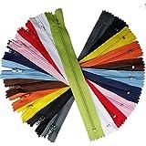 UPICK Color 44pcs Bobina de nylon cremalleras Tailer Herramientas de costura Craft 11colores cremallera de longitud total 9Inche (Tamaño 8)