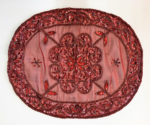 Daniele farinella coppia di centrotavola ovali di artigianato indiano,bordeaux ricamati a mano con cannuttiglie,cm34,5x41