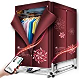 Electric Clothes Dryer, Portable Warm Air Drying Wardrobe,Indoor Drying Rack Clothing Heater Energy Saving (Anion) with Remot