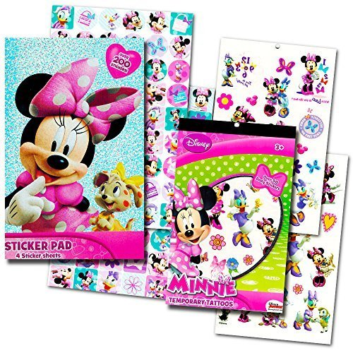Minnie Mouse Stickers & Tattoos Party Favor Pack (200 Stickers & 50 Temporary Tattoos) by Disney (Mouse Tattoos Minnie)