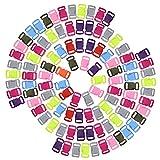 dreamtop 100verschiedene Farben Konturierte Seite Release Kunststoff Schnallen für Paracord Armbänder Halsband Gurtband