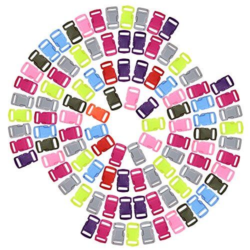 dreamtop 100verschiedene Farben Konturierte Seite Release Kunststoff Schnallen für Paracord Armbänder Halsband Gurtband -