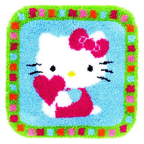 Vervaco Formteppich Hello Kitty mit Herz Knüpfpackung, Baumwolle, Mehrfarbig, 55 x 56 x 1 cm