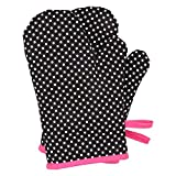 Neoviva Children Oven Gloves for Play Kitchen, Heat Resistant Oven Mitt for Kids, Set of 2, Polka Dots Black