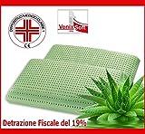 Paire des Oreillers VENIXSOFT à mémoire de forme (memory foam), avec l'Aloe Vera propriétés anti-inflammatoires-Dispositif médical Classe l, déduction du 19%-taie d'oreiller en 100% pur coton fabriqué