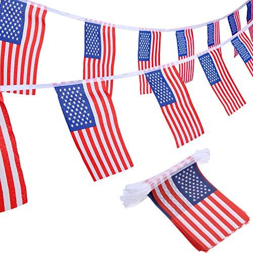 100 Bandiere Americane Stringa USA Bandiera di Stelle e Strisce per 4 Luglio, Giorno della Memoria, Giorno dei Veterani, Giorno dell'Indipendenza, Festa dei Lavoratori, La Giornata di Bandiera