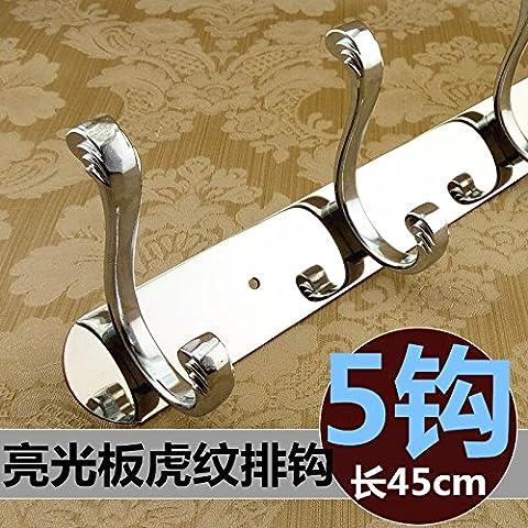 Continental in acciaio inossidabile dragnets retrò aderente alla parete gancio di sospensione bagno porte armadio appendiabiti cap gancio , Acciaio Inossidabile pannello luminoso 5 tiger-gancio a strisce