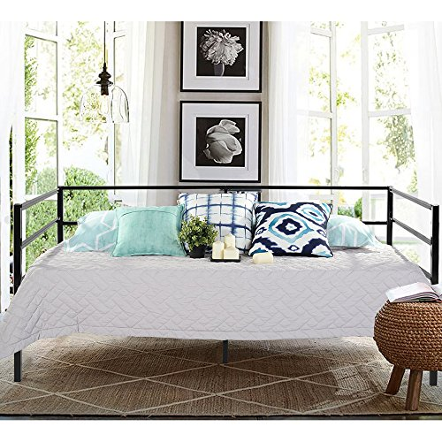 Aingoo 3ft Single Day Bed Frame with Full Steel Slats offer Strong Support, Nice Design Metal Guest Bed Frame Fabulous Sofa Bed with Sturdy Metal Frame Construction,Black