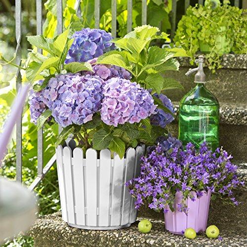 Emsa 512683 Blumenkübel, Rund, Landhaus-Stil, 11 Liter, Weiß, Landhaus -