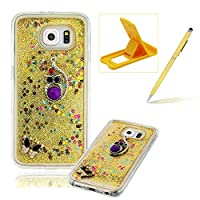 For Samsung Galaxy S6 Liquid Case,For Samsung Galaxy S6 TPU Silicone Clear Case,Herzzer Creative Luxury 3D Design Liquid Quicksand Floating Flowing Bling Glitter Sparkle Stars Love Hearts Triangle Sequin Anti Scratch Bumper Soft Rubber Back Cover For Samsung Galaxy S6 + 1 x Free Yellow Cellphone Kic