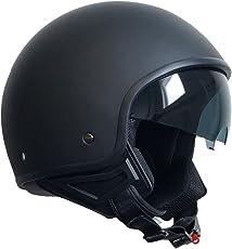 Jethelm Helm Motorradhelm Rollerhelm Chopperhelm mit Sonnenblende RALLOX 710 schwarz/matt (S, M, L, XL ) Größe M