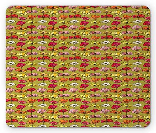 Mohn-Mausunterlage, Weinlese-blühende Mohnblumen mit bunten Blumenblättern und Nektar-organischem Natur-Konzept, Standardgrößen-Rechteck-rutschfestes Gummimousepad, Mehrfarben,Gummimatte 11,8