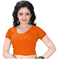 PRE SMART Women's Cotton Solid Half Sleeve Saree Blouse